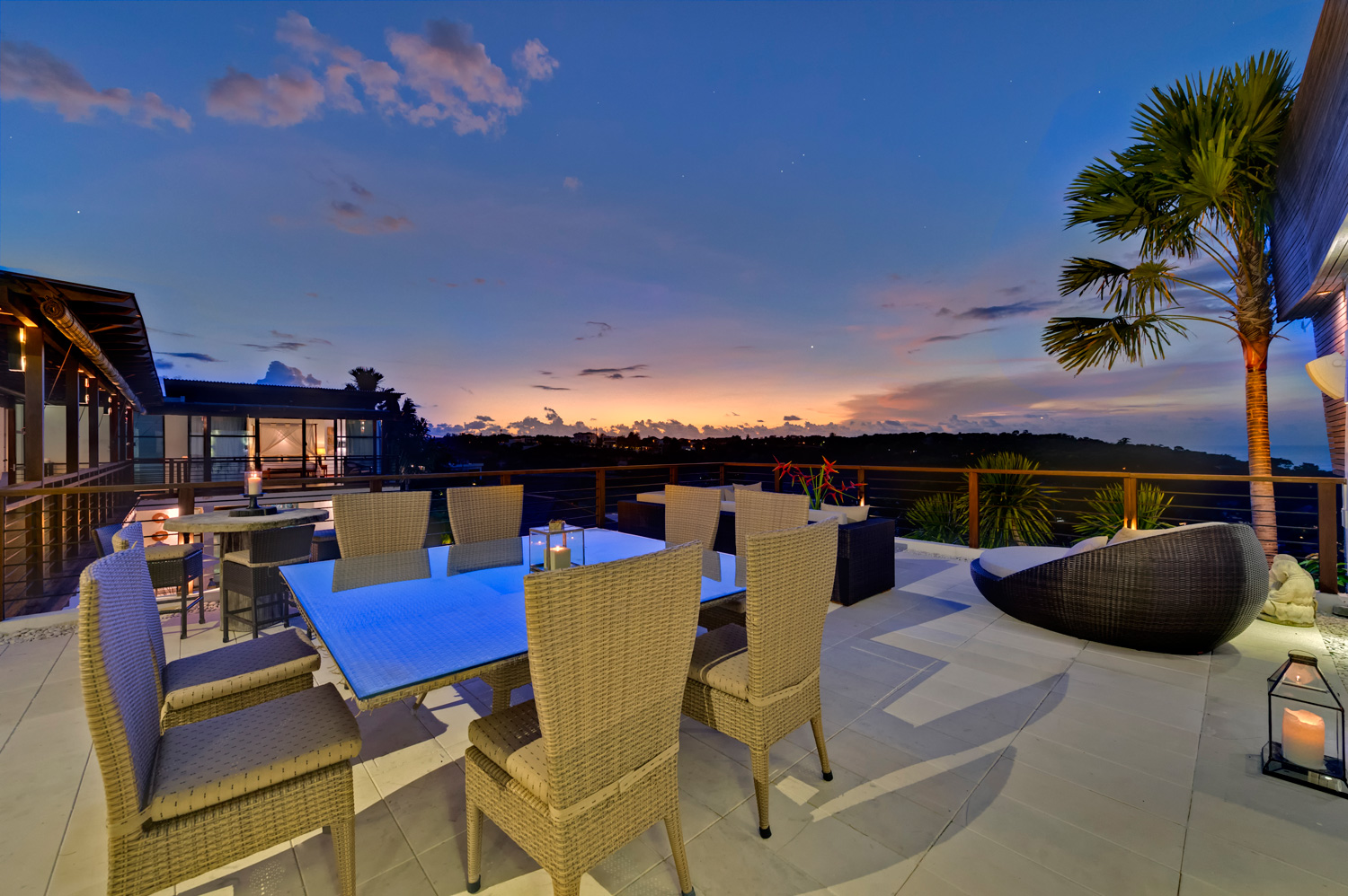 Villa Jamalu -  View from Rooftop dining terrace at dusk